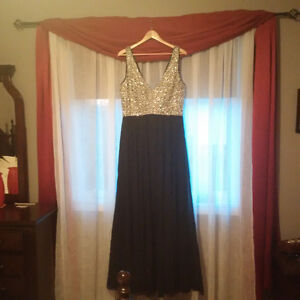 Navy Dress with Silver Beaded bust