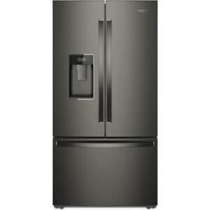 |Whirlpool 36 Inch Black Stainless steel French 3-Door Refrigerator WRF974CIHV  (BD-932)