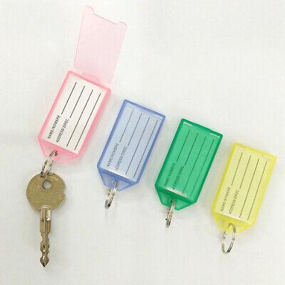 Plastic Transparent Keychain Key Ring ID Tags Name Card Label Language Fob 1/5PC