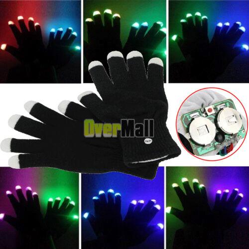 1 Pair LED Rave Flashing Gloves Glow 7 Mode Light Up Finger