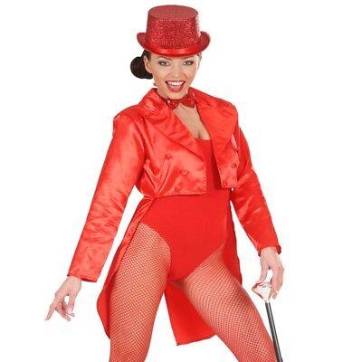 SATIN FRACK rot Damen Kostüm Showgirl Karneval Fasching Show Tänzerin - Show Girl Kostüm