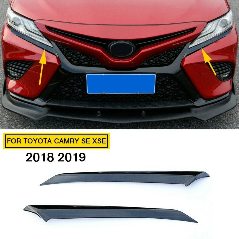 Car Parts - Steel Car Parts Black Head Light Eyelid Trim FOR TOYOTA Camry SE XSE 2018-2020
