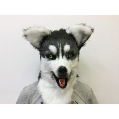 ADULT HUSKY DOG ANIMAL MOUTH MOVING FURRY COSTUME OVER THE HEAD MASK BLACK WHITE - Furry Masks