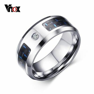 VNOX Fashionable Stainless Steel Men's / Gents Ring with Carbon Fibre & CZ