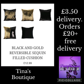 BLACK AND GOLD REVERSIBLE SEQUIN FILLED CUSHION £12.99