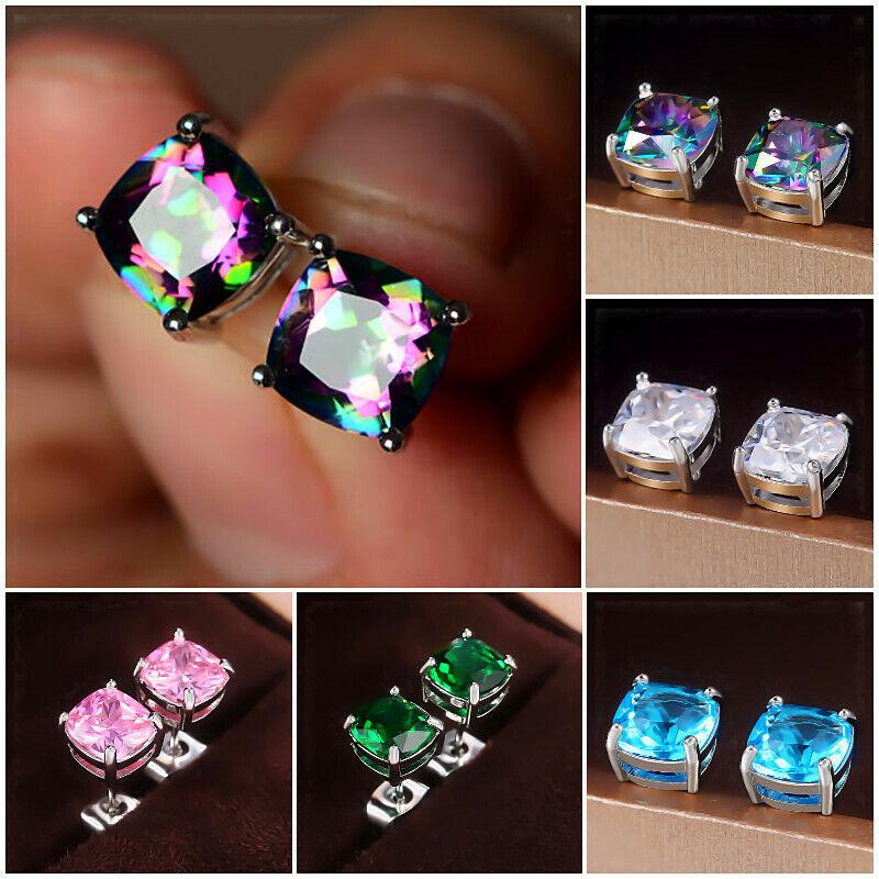 Jewellery - 5 Colors Stud Earrings Women 925 Silver Jewelry Cubic Zircon A Pair/set