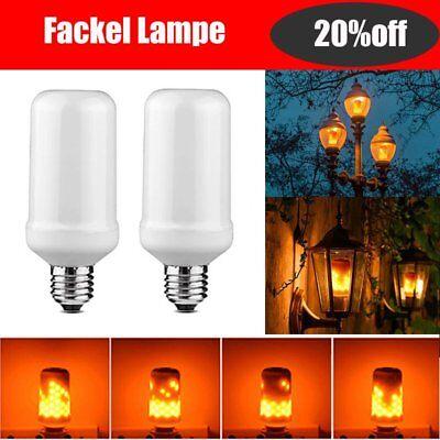 2X E27 LED Beleuchtung Fackel Lampe Flammen Effekt Flacker Flickering Licht