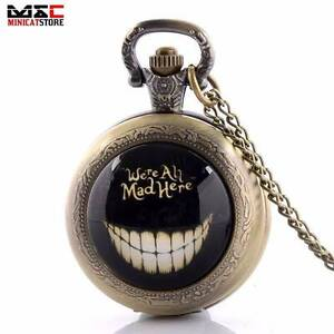 ALICE IN WONDERLAND WE ARE ALL MAD HERE Pocket Watch Pendant NEW Gateshead Lake Macquarie Area Preview