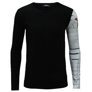 Men long sleeve black t shirt iron arm captain america for Shirts for men with long arms