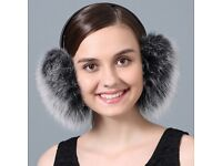 DAYMISFURRY--Black Frost Fox Fur Earmuffs With Leather Band