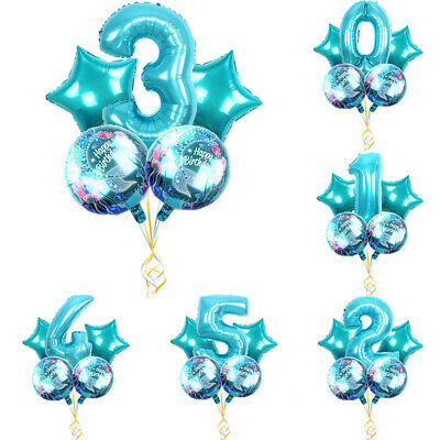 Number 1 Balloons (1/2/5pcs Mermaid Party Foil Balloons 32Inch Blue Number Balloons Party)