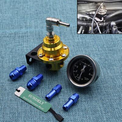 High Performance Car Pressure Gauge Adjustable Fuel Pressure Regulator Golden