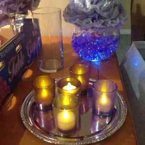 Wedding/party decor in purple, white and silver