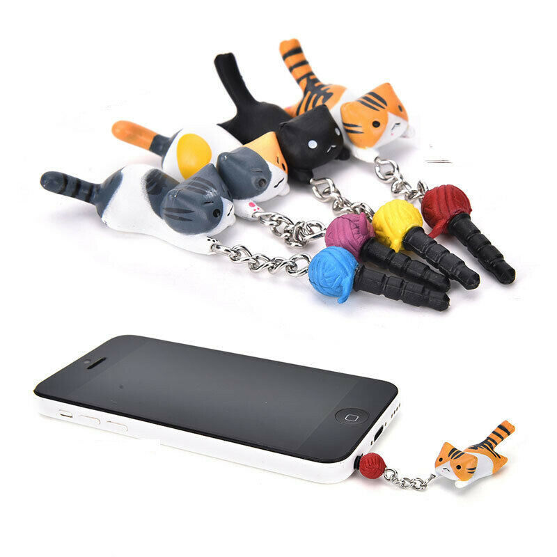 1*Cute Cat Cell Phone Anti-Dust Plug Straps 3.5mm Earphone Jack Universal Random