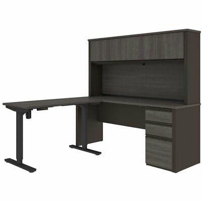 Bestar Prestige Plus 4 Piece Standing Desk Set In Bark Gray And Slate
