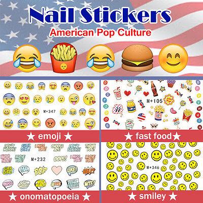 Nail Stickers Water Transfer Summer America emoji Fast Food Smiley Onomatopoeia ](Tattoo Emoji)