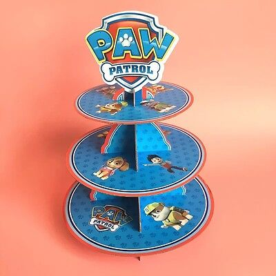 1x Paw Patrol 3-Tier Cupcake Stand. Party Supplies Cake Lolly Loot Bag Deco ()
