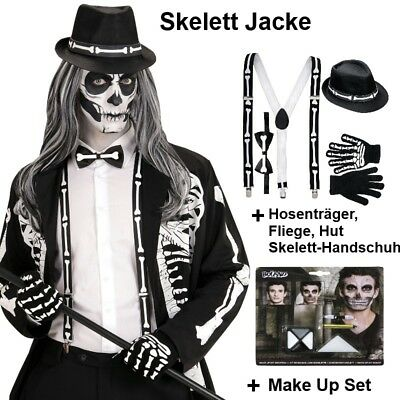 TOP Herren SKELETT JACKE + Fliege Hosenträger Hut + Make Up Halloween Kostüm - Weiß Skelett Kostüm