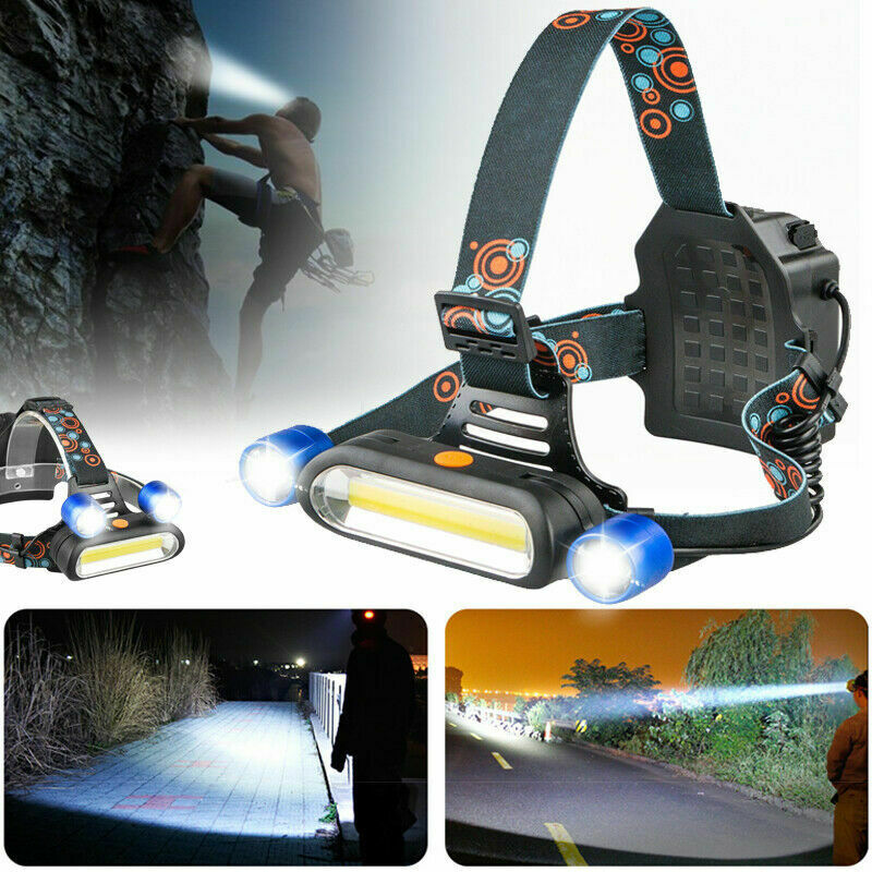 1800LM 2 x XM-L T6 LED COB USB Rechargeable Headlamp Head Light Flashlight Torch