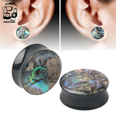 2PCS Ear Plugs Mother of Pearl Abalone Shell Mosaic Glaring Horn Ear Gauges