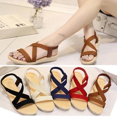 Womens Slip On Sandals Ladies Summer Soft Flats Sandals Comfy Shoes US Size 5-10