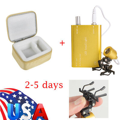 USA Clip-on Portable LED Head Light Lamp for Dental Surgical Loupes + Cloth Case