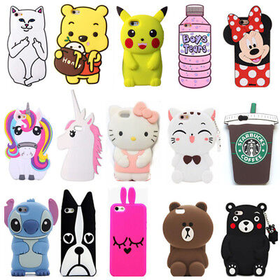 3D Cute Animals Cartoon Soft Silicone Case Cover Back For Iphone Phones
