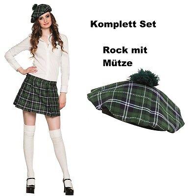 Damen Schotten Mini Rock KILT Karo grün Kariert mit Kappe Mütze Faltenrock