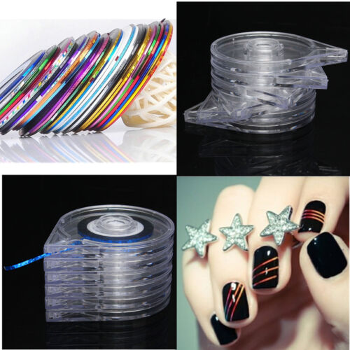 10 Fili Striping Nastro Tape + 6 Strati Caso Linea Holder Box Nail Art Unghie