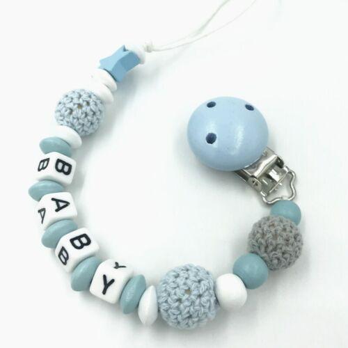 personalised dummy holder clip Handmade crochet baby pacifier dummy holder