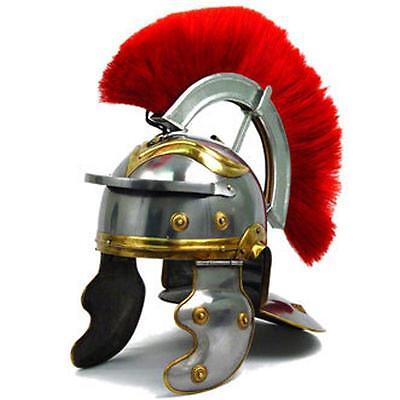 - Roman IMPERIAL Gallic Centurion Helmet Italic Red Plume 18ga STEEL General