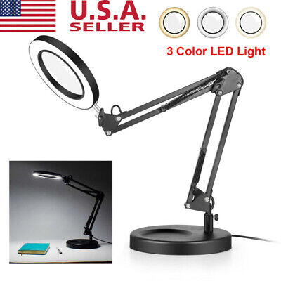 72LED 8X Desk Table Clamp Mount Magnifier Lamp Magnifying Glass Reading Lamp