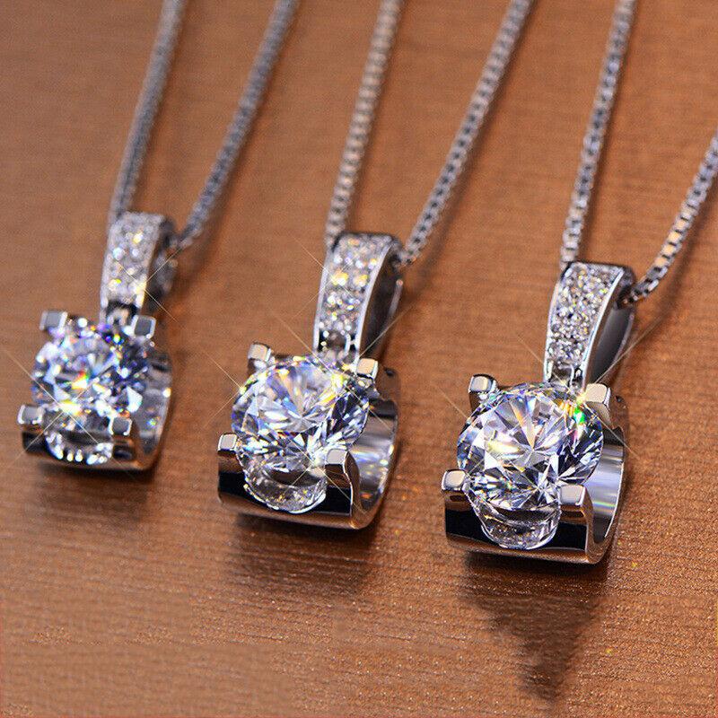 Jewellery - Elegant 925 Silver Necklace Pendant Women White Sapphire Jewelry Wedding Gift