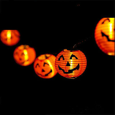 DIY Scary Halloween LED Paper Hanging Pumpkin Lantern - Festival Party Decor