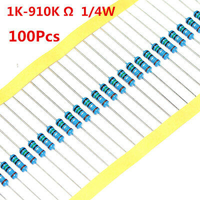 100pcs 14w 0.25w Metal Film Resistor 1 1k -910k Ohm 1 K - 910 K