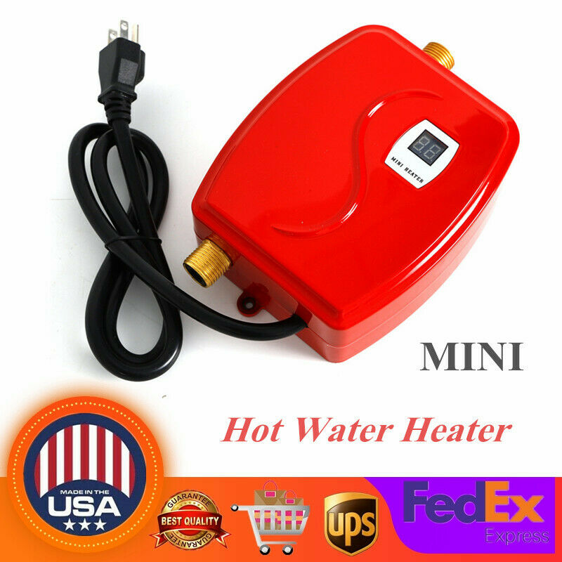 110V Mini Instant Electric Hot Water Heater Shower Kitchen Red