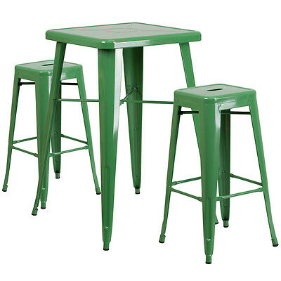 23.75 Industrial Restaurant Table Set In Green Metal Wbar Table 2 Stools