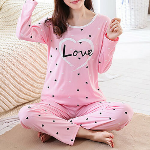 Women's Pink Cute Pajama Shirts Pants Set Long Sleeves Sleep