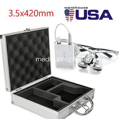 New Dental Surgical Binocular Loupes 3.5x 420mm Led Head Light Aluminum Case