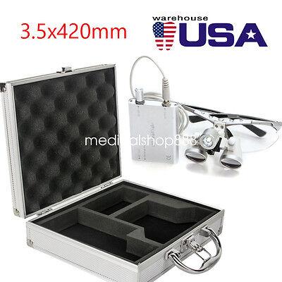 New Dental Surgical Binocular Loupes 3.5x 420mm Led Head Light Aluminum Case