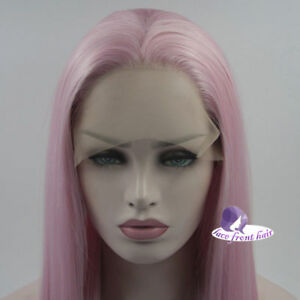 24 Inches Pink Long Straight Celebrity  Heat Resistant Lace Front Wig+Wig Cap