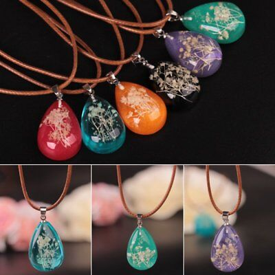 Natural Dried Flower Glow In The Dark Pendant Necklace Women Girl Jewelry Gift - Glow In The Dark Jewelry