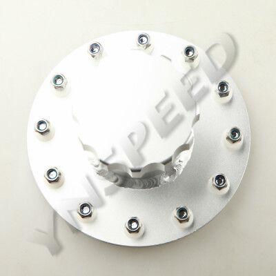 Billet Aluminum Fuel Cell Fast Fill Filler Neck 12 Bolt Flange + Cap Silver