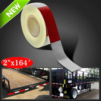 2x164 Red White Approved Dot-c2 Reflective Conspicuity Trailer Tape Safety Bp