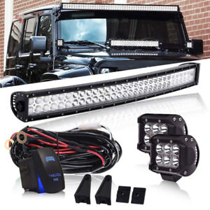 32 inch Curved LED Light Bar+ Fog Lights+Switch+Wiring Harness