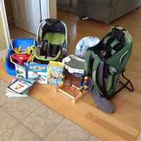 INFANT CAR SEAT, CHILD CARRIER, HIGH CHAIR, SWING,TOYS & BOOKS!!