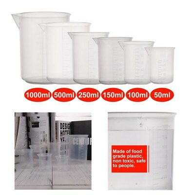 6size 501001502505001000ml Plastic Graduated Beakers Measuring Cylinder Lab