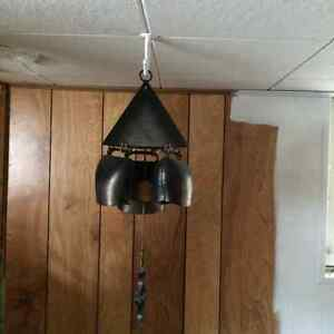 Vintage Set of three Hanging Swiss Cow Bells with clapper