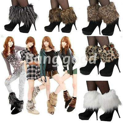 Artificial faux Fur Lower Ankle Winter Boot Leg Warmer Shoe Sleeve Cover Legging