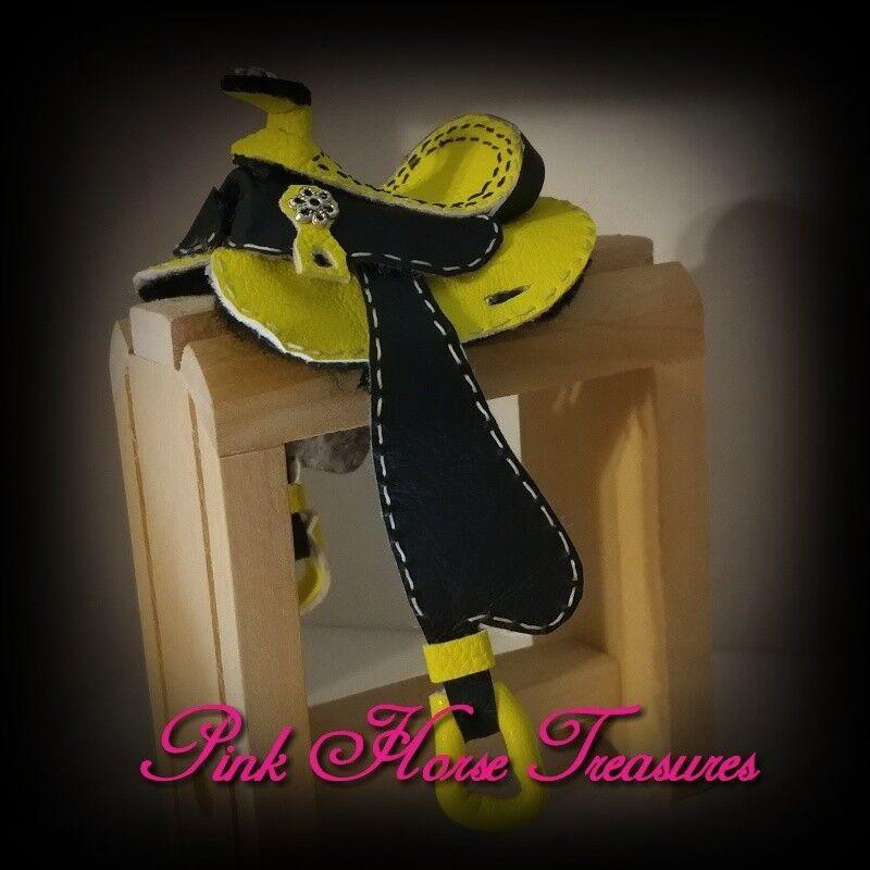 Traditional CM OOAK Breyer Barrel Saddle Set Neon Yellow
